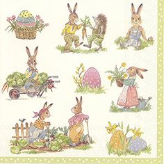 STORIES OF BUNNIES cream Easter paper 3 ply napkins 33 cm lunch square 20 in a pack