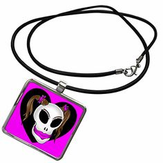 3dRose Mark Grace MONSTERVISIONS Skulls - SKULL BEAUTY 1h on pink - Necklace With Rectangle Pendant (ncl_24053_1)