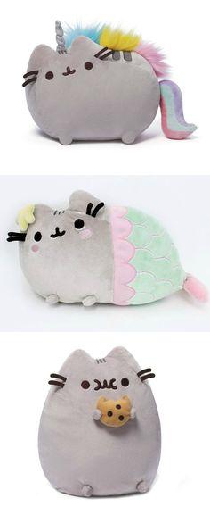 Pusheen the Cat Pillows, super cute! | Pusheen Cat | Decorative Pillows } Firly Pillows | Cute Cats | unicorn Mermaid Cookie | Stuffed Animal Plushie | Colleeg Dorm Room Decor Ideas | College Student Dorm Decorations | Dorm Inspiration