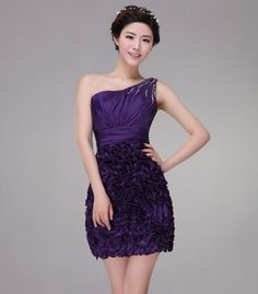 One Shoulder Ruffles Padded Sexy Bridesmaid Dress Prom A-Line Wedding Dresses | Buy Wholesale On Line Direct from China