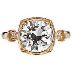 Art Deco 2.44ct Old Corte Europeia de diamante do anel de noivado
