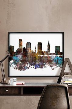 Cleveland skyline, Cleveland, Ohio, Print, poster, Art, travel poster, Wall art, city prints,Home Decor, distress, art print, iPrintPoster.
