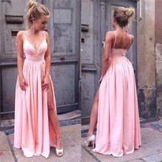 Sexy A-Line Pink Prom Dress Long Spaghetti Straps