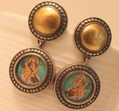 Hand Painted Hindu Goddess Saraswati - I want this minature as a pendant!