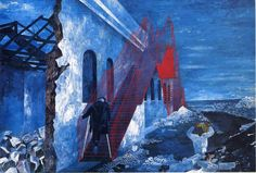 Ben Shahn Paintings   The Red Stairway - Ben Shahn Paintings Wallpaper Image