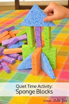 Make Sponge Blocks by cutting sponges into fun shapes. Easy to handle. No noise. No sharp edges.