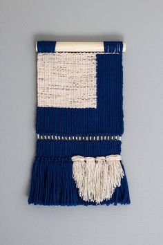 Woven Wall Hanging // Modern Tapestry // Blue Color Block Tapestry Weaving Wall Hanging, Weaving Art, Tapestry Weaving, Loom Weaving, Tapestry Wall Hanging, Textiles Techniques, Weaving Techniques, Modern Tapestries, Peg Loom
