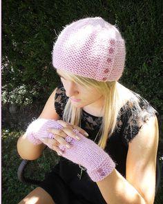 Beanie  Fingerless Mitts  Easy knitting  by JohshiDesigns on Etsy, $6.50