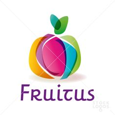 The layering of the shapes and forms the fruit and helps add a realistic and three dimensionality to it. Typography Logo, Logo Branding, Fruit Logo, App Logo, Kids Logo, Creative Logo, Business Card Logo, Logo Design Inspiration, Identity Design