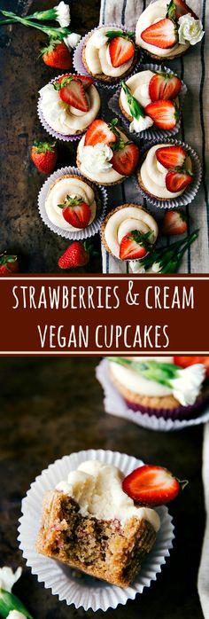Delicious strawberries and cream vegan cupcakes Leckere Erdbeeren und cremefarbene vegane Cupc Vegan Baking Recipes, Vegan Dessert Recipes, Dairy Free Recipes, Delicious Desserts, Yummy Food, Delicious Cupcakes, Quick Recipes, Gluten Free, Healthy Recipes