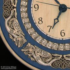 Celtic Knotwork Pyrography Wall Clock by PipenbassCeltic on Etsy