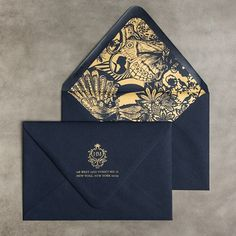 Fun with envelope liners! #wedding #invitations #gold and #navy #whimsical