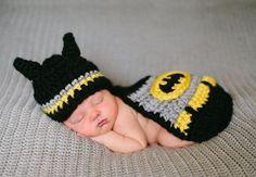 Newborn baby crochet costume Batman for baby shower by Evanplus, $23.95