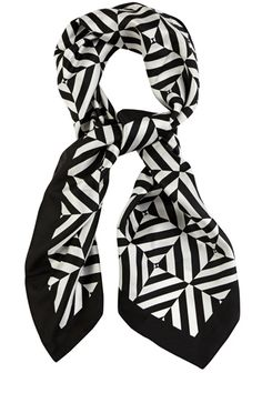 This monochrome silk scarf features a geometric stripe print across the fabric.