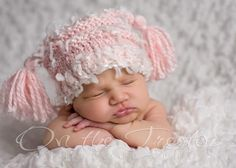 Girl Hat, Newborn Hat, Custom Knit Handmade Pink Sheep Hat with Tassels for Newborn and Baby Photography Prop