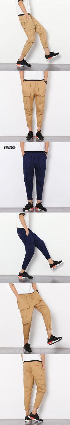 Summer Thin Men's Casual Pants Fashion Mens Cargo Pants Multi Pocket Japan Style Trousers Hip Fop Cone Pant Q378