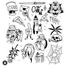 Kritzelei Tattoo, Doodle Tattoo, Body Art Tattoos, Tattoo Flash Sheet, Tattoo Flash Art, Tattoo Design Drawings, Art Drawings, Desenhos Old School, Petit Tattoo