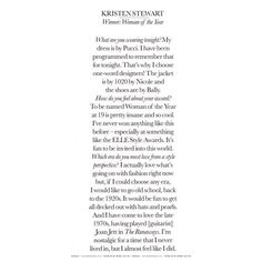 Kristen Stewart Featured In Elle UK Magazine   Eclipse Movie ❤ liked on Polyvore featuring text, words, backgrounds, articles, quotes, magazine, fillers, phrases, saying and headline