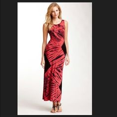 LOWEST.  V-back tie-dye maxi dress.  Coral & Black NWOT, never worn.  Price Firm American twist Dresses Maxi