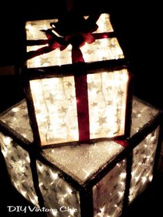 Lighted outdoor gift boxes