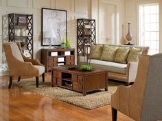 The Aiden sofa and chairs paired with Campton tables.