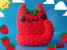 Kawaii Strawberry Cat Food Plushie, Cute Stuffed Cat, Cute Easter Plush and Decoration