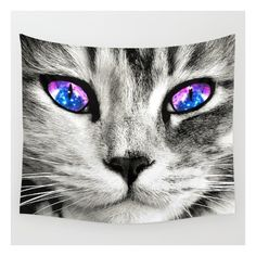 Galaxy Cat Wall Tapestry ❤ liked on Polyvore featuring home, home decor, wall art, cat, cat home decor, home wall decor, outer space wall art and cat wall art