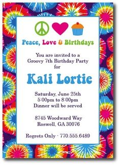 tie dye invitations hippie chick by thepreppyladybug on etsy 1500