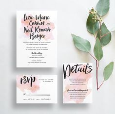 watercolor splash wedding invitations // blush watercolor wedding invites // brush lettering // rose blush watercolor // printable // custom