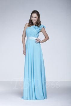 TBDress - TBDress Ruched A-Line One-Shoulder Floor-Length Elas New Bridesmaid Dress - AdoreWe.com