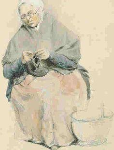 """Vieja señora de Guernsey tejiendo""  -    ""Old Guernsey Lady knitting""   Acuarela  Peter Le Lievre (1812-1898)  Pintor de Guernsey, pequeña isla ubicada en el Canal inglés que separa Gran Bretaña de Europa"