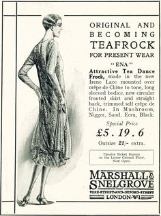 Original and becoming teafrock for present wear 'Ena' - Attractive Tea Dance Frock, made in the new Irene Lace mounted over crepe de Chine to tone, long sleeved bodice, new circular fronted skirt and straight back, trimmed self crepe de Chine. In Mushroom, Nigger, Sand, Ecru, Black.  - Marshall & Snelgrove Oxford Street, London
