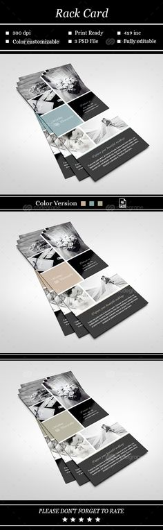 Rack Card Template for Photographers by designbybittersweet - rack card template