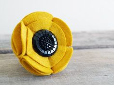Brooch - Golden Yellow Sunflower with Black Button