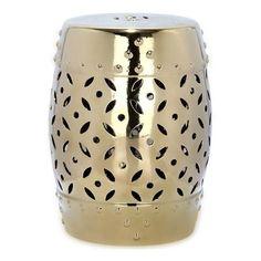 Taburete de cerámica vidriada de ¿Salimos al Porche?, dorado