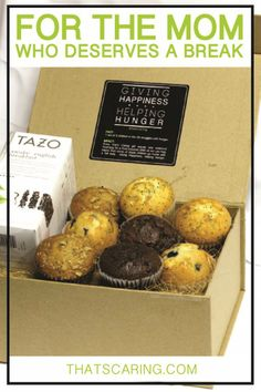 This delicious gift box is perfect for women who are overworked, super busy or, well, Moms! With eight all-natural homemade muffins in Banana Nut, Blueberry, Double Chocolate Chip and Lemon Poppy Seed, and a box of Starbucks Tazo Awake Black Tea, Mom will be happy to sit, relax, sip and enjoy her Mothers' Day gift. Plus, this gift box donates to hungry children in need. #mothersdaygift #giftsthatgiveback #giftsunder$30