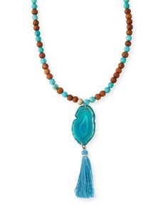 Turquoise & Sandalwood Tassel Necklace by Lead at Neiman Marcus.