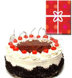 1 Pound Black Forest Cake & Occasional Greeting Card. #CakeWithCard #CityFlorist #EasyFlowers