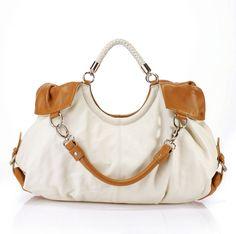 Maselle Italian Leather Tote Handbag - White