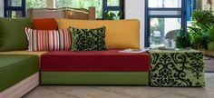 פינות ישיבה מעוצבות של אתנחתא - עיצוב פינת ישיבה וכריות נוי, פינת זולה נמוכה לחדר משפחה / טלוויזיה
