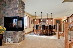 Traditional Home Three Sided Fireplace Design, Pictures, Remodel, Decor and Ideas