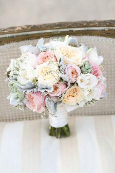 Cream, white, blush garden roses, succulents, dusty miller