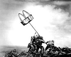 Detournement of Raising the Flag on Iwo Jima, by UnManuel
