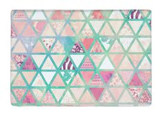 Floor Mat Pink Turquoise Abstract Floral Geometric Triangles Patchwork Non-slip Rugs Carpets For Indoor Outdoor Living Room #Affiliate