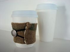 SALE Burlap Coffee Sack Coffee Cup Cozy