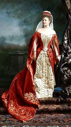 Russian court dress. Maria Graevinitz, the wife of Baron G. A. de Graevinitz, a Russian diplomat. 1900. Digital colouring.