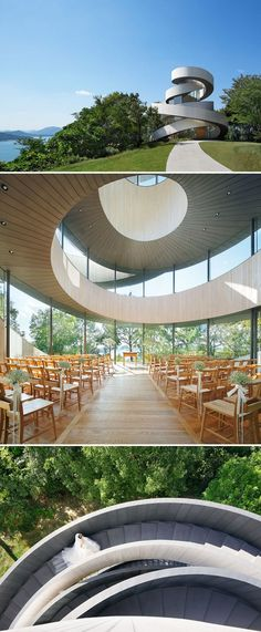 52 Of The Most Amazing Examples Of Modern Japanese Architecture : Ribbon Chapel In Hiroshima Architecture Du Japon, Modern Japanese Architecture, Japanese Buildings, Public Architecture, Space Architecture, Modern Architects, Architectural Section, Decoration Design, Hiroshima