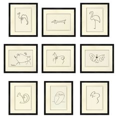 picasso animal sketches print instant download set picasso animal lineart drawing picasso dog. Black Bedroom Furniture Sets. Home Design Ideas