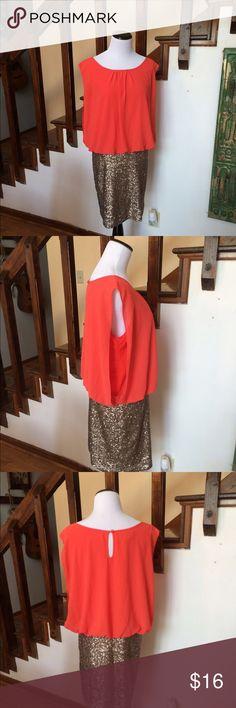 Orange Gold Sequin Dress Super cute and sexy pretty orange bodice and sexy sequin skirt MM Couture Dresses Midi