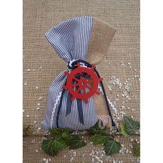Μπομπονιέρες αγόρι. Μπομπονιέρες βάπτισης αγόρι πουγκί λινάτσα με ριγέ μπλε ύφασμα και ξύλινο τιμόνι Fashion Backpack, Backpacks, Bags, Handbags, Backpack, Backpacker, Bag, Backpacking, Totes
